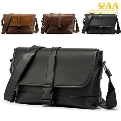 メッセンジャーバッグ メンズ カバン 鞄 PUレザー ショルダーバッグ フラップ 斜めがけ 大きめ A4 通勤 通学