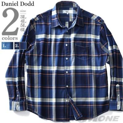 シャツ割 大きいサイズ メンズ DANIEL DODD 長袖 インディゴ チェック レギュラー シャツ 916-190408