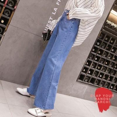大きいサイズ あり おおきいサイズ レディース ファッション 脚長 美脚 フレイドヘム ハイウエスト フレア デニム パンツ M L LL 3L 4L 5L 6L秋冬