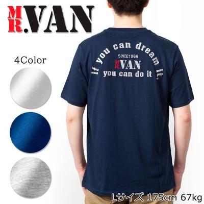 MR.VAN ミスターヴァン 春夏 バックロゴ刺繍 ポケット 半袖 Tシャツ / カットソー コットン メンズ トップス ブランド CUTSEW
