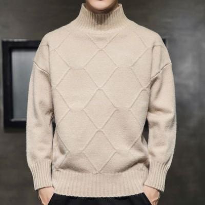メンズ アパレル 男子 紳士服 シャツ シンプル 純色 タートルセーター ニットシャツ ケーブルニット 長袖 ブラック1203ST2-AL68