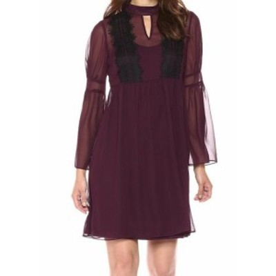 Jessica Simpson ジェシカシンプソン ファッション ドレス Jessica Simpson NEW Purple Lace-Trim Chiffon Keyhole 10 A-Line Dress