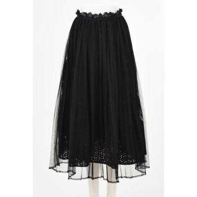 20% OFF SALE franche lippee フランシュリッペ ピュアリバーシブルスカート (ブラック)  セール品につき返品・交換・キャンセル不可
