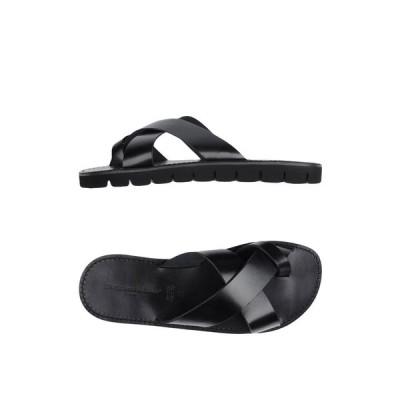 ラルティジャーノ デル クオイオ L'ARTIGIANO DEL CUOIO メンズ ビーチサンダル シューズ・靴 flip flops Black
