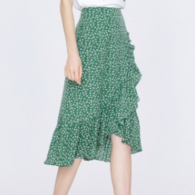 スカート ハイウエストスカート 小花柄スカート 膝丈 フリル 花柄 大人 可愛い フェミニン 上品 お出かけ デート
