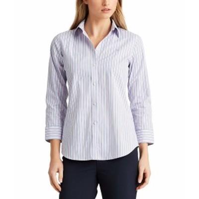 ラルフローレン レディース シャツ トップス Easy Care Striped Cotton Shirt Pink Multi