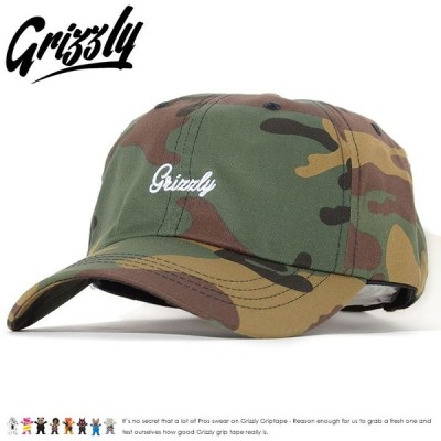 GRIZZLY グリズリー ローキャップ 帽子 ストラップバック 総柄 迷彩 スクリプトロゴ刺繍
