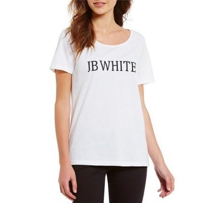 ヘリテージ レディース Tシャツ トップス J.B. White Logo Scoop Neck Short Sleeve Tee White
