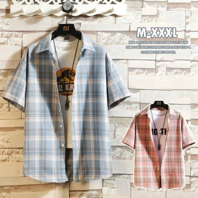 半袖シャツ メンズ シャツ チェック ボタンダウンシャツ メンズシャツ チェック柄 半袖 トップス カジュアルシャツ トップス 大きいサイズ  長袖Tシャツ