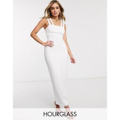 エイソス レディース ワンピース トップス ASOS DESIGN Hourglass double strap square neck maxi dress in white White