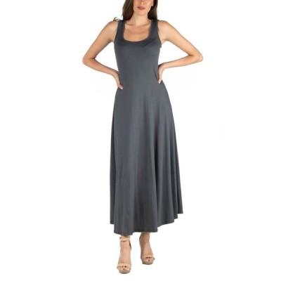 24セブンコンフォート レディース ワンピース トップス Slim Fit A-Line Sleeveless Maxi Dress