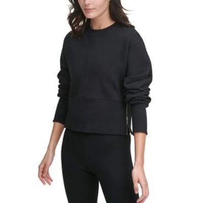 ダナ キャラン ニューヨーク レディース カットソー トップス Sport Cotton Side-Zip Cropped Top Black