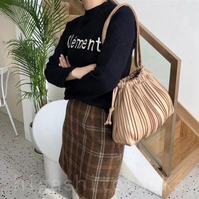 ショルダーバッグ ギャザー 巾着 レディース 巾着バッグ プリーツバッグ 斜め掛け かわいい 黒 白 ベージュ ブラウン 韓国ファッション
