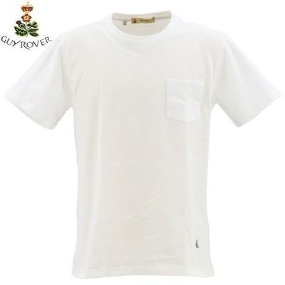 ギローバー GUY ROVER メンズ コットン 鹿の子 クルーネック ポケット付Tシャツ 2850TC442 501500 (ホワイト)