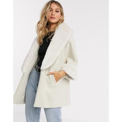 リバーアイランド レディース コート アウター River Island relaxed coat with faux fur trim in cream