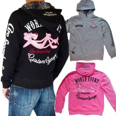 ピンクパンサー 刺繍 パーカー  PINK PANTHER × FRAGSTAFF フラッグスタッフ ヒョウ柄ベルボア  メンズ レディース 493022