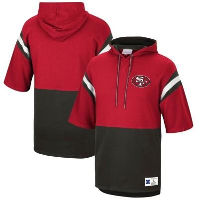 """メンズ フーディ """"San Francisco 49ers"""" Mitchell & Ness Gridiron Classics Historic Logo Training Room Half-Sleeve Pullover Hoodie - Scarlet/Black"""