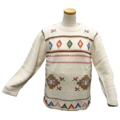 ALC-055-1 アルパカ100%セーター 丸首 女性 花柄 蝶柄 幾何学柄 暖かい 綺麗
