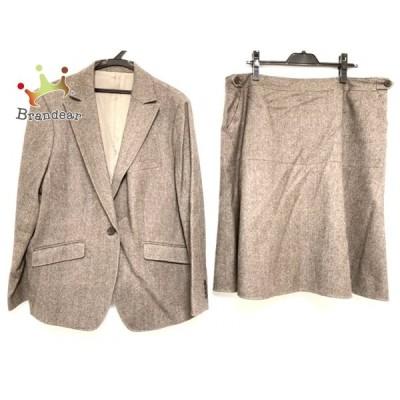 ニューヨーカー スカートスーツ サイズ25 XS レディース - ダークブラウン×アイボリー ツイード 新着 20200812