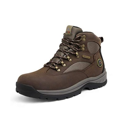NORTIV 8 Men's Waterproof Hiking Boots Mid Ankle Leather Hiker Backpacking Boots Brown Size 11 M US Rockfor【並行輸入品】