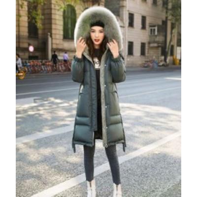 ダウンコート ダウンジャケット 中綿コート アウター ファーフード付き 膝丈 オーバーサイズ 無地 暖かい カジュアル 冬服