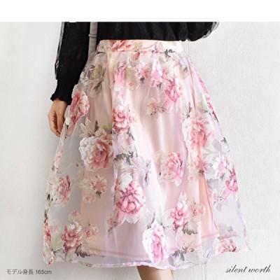 オーガンジー 花柄 ミモレ丈 膝丈 スカート レディース 2021 春夏新作