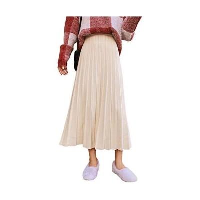 プリーツスカート レディース ニットスカート フレアースカート ロング ミモレ丈 Aライン 体型カバー (ベージュ Free Size)
