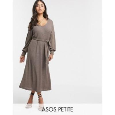 エイソス レディース ワンピース トップス ASOS DESIGN Petite long sleeve oversized rib marl belted midi dress in mustard Mustard