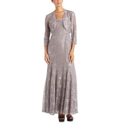 アールアンドエムリチャーズ ワンピース トップス レディース Scalloped Glitter-Lace Dress & Shrug Champagne