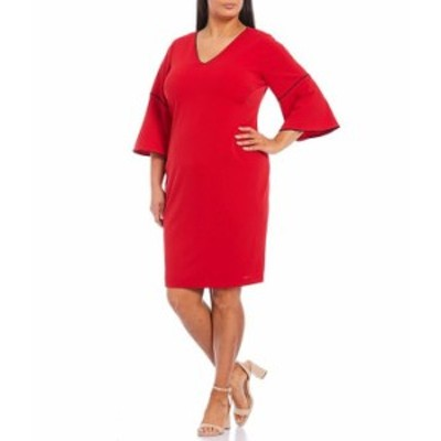 カルバンクライン レディース ワンピース トップス Plus Size Scuba Crepe Contrast Pipe Trim V-Neck Bell Sleeve Sheath Dress Rouge