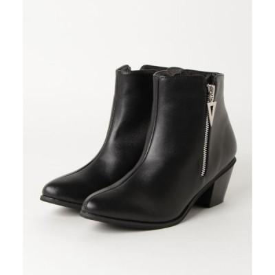 ブーツ 6cmチャンキーヒール美脚ショートブーツ