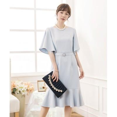 【ドレス スター】 ベルト付きフレアスリーブマーメイドワンピース レディース ライト ブルー Mサイズ DRESS STAR