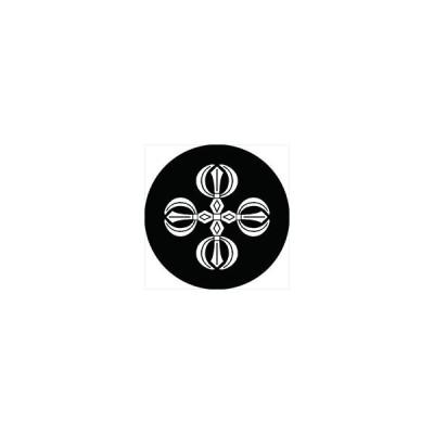 家紋シール 独鈷十字紋 直径4cm 丸型 白紋 4枚セット KS44M-2452W