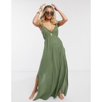エイソス レディース ワンピース トップス ASOS DESIGN braid maxi beach dress in textured khaki Khaki