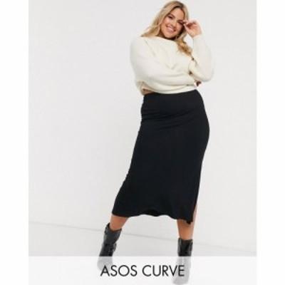 エイソス ASOS Curve レディース ひざ丈スカート スリップスカート スカート ASOS DESIGN Curve bias cut jersey midi slip skirt with s