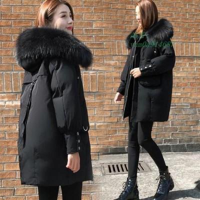大きいサイズ ブラック 中綿コート レディース コート フード付き 厚手 冬アウター 毛皮 ファー 20代 ダウンコート ミディアム丈 30代 暖かい