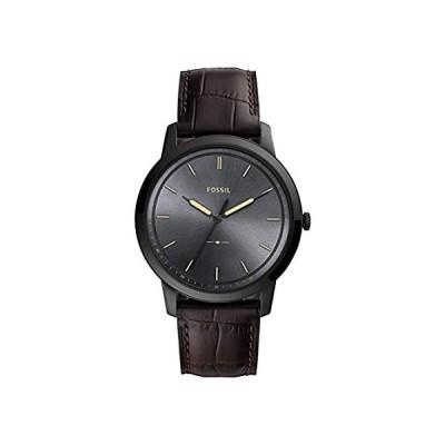 特別価格Fossil orologio uomo Minimalist acciaio nero pelle marrone quarzo FS5573好評販売中