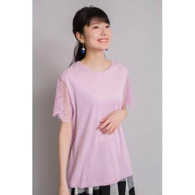 tシャツ Tシャツ スカラップレース スリーブTシャツ