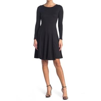 ベルベットトーチ レディース ワンピース トップス Long Sleeve Front Slit Dress BLACK