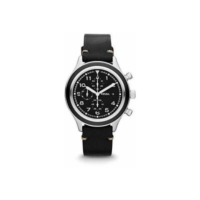 フォッシル メンズ用腕時計 Fossil JR1440 Men's Compass Leather Band Black Dial Chronograph Watch