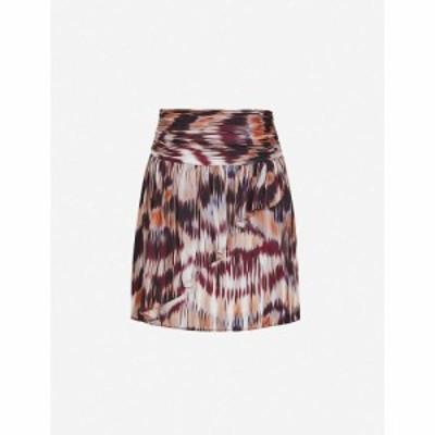 リース REISS レディース ミニスカート スカート Josephine abstract-print high-waist crepe mini skirt BERRY
