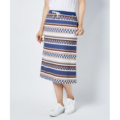 (Munsingwear/マンシングウェア)ネイティブパターンプリントスカート(69cm丈)/レディース ネイビー系