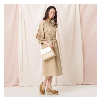 【クチュール ブローチ/Couture brooch】 【WEB限定(LL)サイズあり/洗える】リネンライク袖デザインワンピース