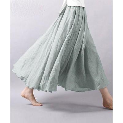 スカート リネンマキシ丈スカート