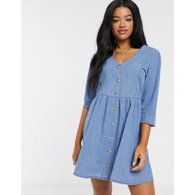 エイソス レディース ワンピース トップス ASOS DESIGN soft denim tea dress in midwash blue