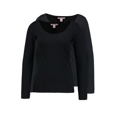 アンナフィールド カットソー レディース トップス 2 PACK - Long sleeved top - black/black