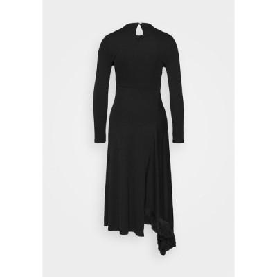 マザーオブパール ワンピース レディース トップス ASYMMETRIC DRESS WITH TASSEL - Jersey dress - black