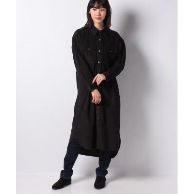 【コエ】 コーデュロイシャツワンピース レディース ブラック F koe