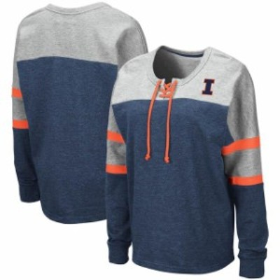 Colosseum コロセウム スポーツ用品  Colosseum Illinois Fighting Illini Womens Navy Manolo Lace-Up French Terry Pullover Sweatshir