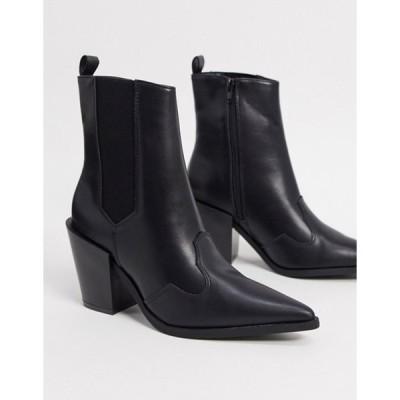 トリュフコレクション レディース ブーツ・レインブーツ シューズ Truffle Collection western boots in black